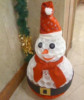 Маленький снеговик из пластиковых стаканчиков своими руками
